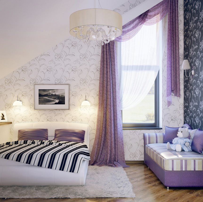 Lilac-white-black-girls-room
